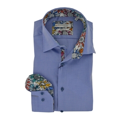 Giordano Long Sleeve Shirt - Mid Blue Contrast Collar