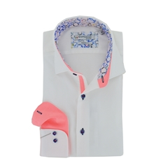 New 2020 Giordano Long Sleeve Shirt - White Honeycomb Texture with Bright Pink Contrast