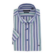 Giordano Short Sleeve Shirt - Green Stripe