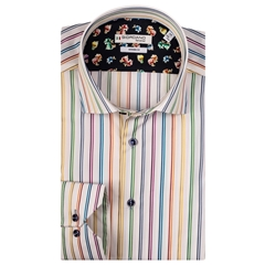 Giordano Shirt - White Multi Stripes- NO PIC