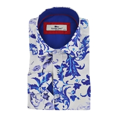 Claudio Lugli Blue Leaves Shirt - White