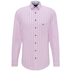 New 2020 Fynch Hatton Cotton Stripe Shirt - Rose Blue
