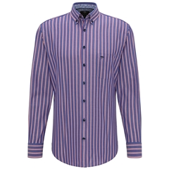 Fynch Hatton Cotton Stripe Shirt - Navy Red
