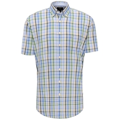 New 2020 Fynch Hatton Short Sleeve Shirt - Cypress Blue