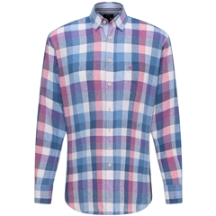 New 2020 Fynch Hatton Linen Check Shirt - Blossom Blue