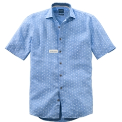 Olymp Casual Short Sleeve Linen Shirt - Sky Blue White Neat Flowers