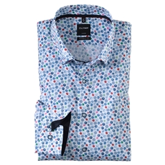 Olymp Casual Long Sleeve  Shirt - White with Multicolured Circles