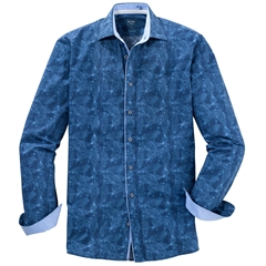 Olymp Casual Long Sleeve  Shirt - Navy with Blue Printed Fish