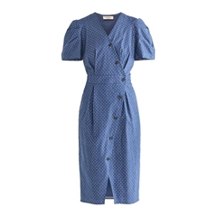 New Paisie 2020 Mia Wrap Dress - Blue
