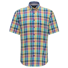 New 2020 Fynch Hatton Short Sleeve Shirt - Azure Madras Check