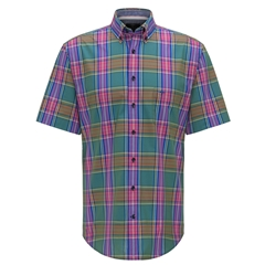 New 2020 Fynch Hatton Short Sleeve Shirt - Palmtree Madras Check