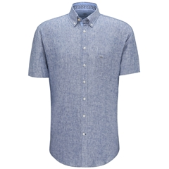 Fynch Hatton Short Sleeve Linen Shirt - Navy
