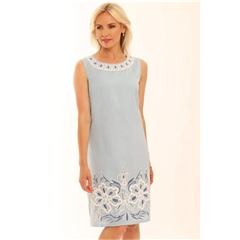 New 2020 Pomodoro Contrast Embriodered Dress - Blue