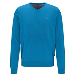 Fynch Hatton Superfine Cotton V-Neck Sweater - Crystal Blue
