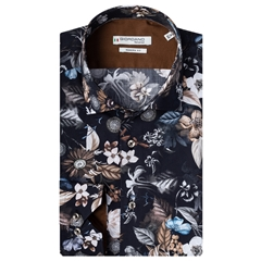New 2020 Giordano Modern Fit Cotton Shirt - Black with Autumn Flowers