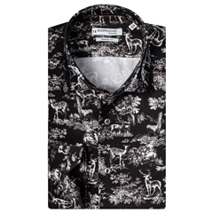New 2020 Giordano Modern Fit Cotton Shirt - Black Stag Scene