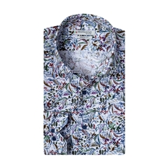 New 2020 Giordano Modern Fit Cotton Shirt - White Multi Neat Flowers
