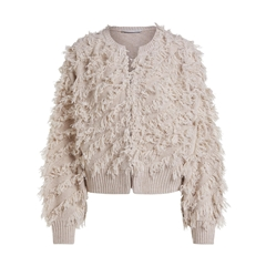 New 2020 Oui Fringe Layered Cardigan - Light Stone