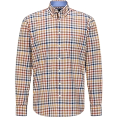 New 2020 Fynch Hatton Supersoft Cotton Shirt - Toscana Taupe Check