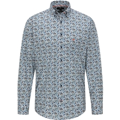 New 2020 Fynch Hatton  Cotton Shirt - Printed Stripes and Flowers