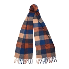 New 2020 Barbour Large Tattershall Scarf - Navy/Camel