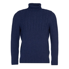 New 2020 Barbour Duffle Cable Sweater - Navy