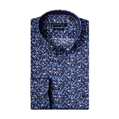Giordano Regular Fit Cotton Shirt - Painted Splashes on Blue