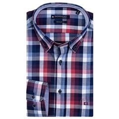 New 2020 Giordano Regular Fit Cotton Twill Shirt - Navy Red Check