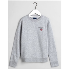 New 2020 Gant Medium Shield Crew Neck Sweatshirt - Grey
