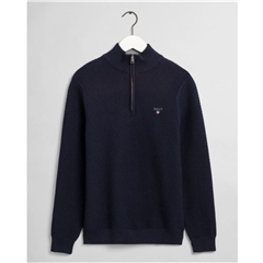 New 2020 Gant Triangle Texture Half Zip - Navy