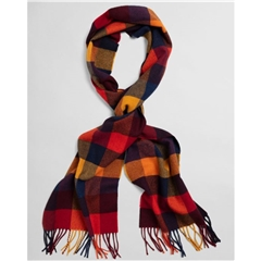 New 2020 Gant Check Wool Scarf - Ivy Gold