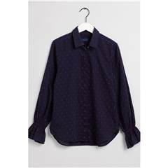 New 2020 Gant Smock Dot Dobby Shirt - Navy