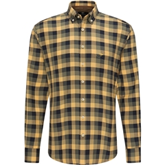 New 2020 Fynch Hatton Supersoft Shirt - Mustard Check