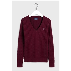 New 2020 Gant Cable V-neck Jumper - Port