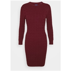 New 2020 Gant Stretch Cotton Cable Dress - Port