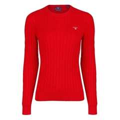 New 2020 Gant Cable Knit Sweater - Bright Red
