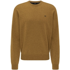 New 2020 Fynch Hatton Pure Lambswool Crew Neck Sweater - Mustard