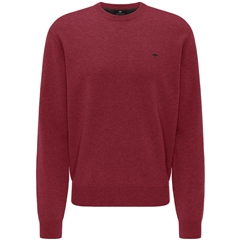 New 2020 Fynch Hatton Pure Lambswool Crew Neck Sweater - Scarlet