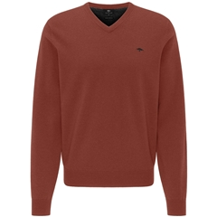 New 2020 Fynch Hatton Pure Lambswool  V-Neck Sweater - Terracotta