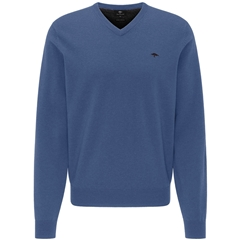 New 2020 Fynch Hatton Pure Lambswool  V-Neck Sweater - Wave