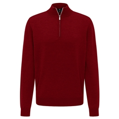 New 2020 Fynch Hatton Merino Wool Half Zip Sweater - Scarlet