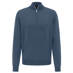 Fynch Hatton Merino Wool Half Zip Sweater - Indigo