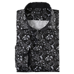 Olymp Luxor Modern Fit Shirt - Contrast Flowers on Black