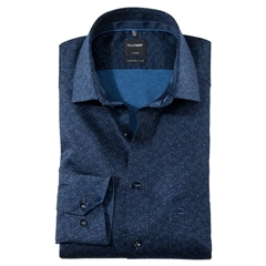 New 2020 Olymp Luxor Modern Fit Shirt - Tonal Flower Print on Navy