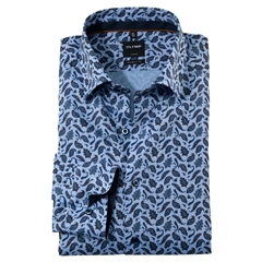 New 2020 Olymp Luxor Modern Fit Shirt - Paisley Print on Blue