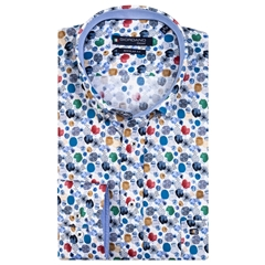 New 2020 Giordano Regular Fit Cotton Shirt - Ink Dots Dark Blue