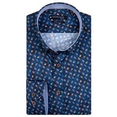 New 2020 Giordano Regular Fit Cotton Shirt - Small Leaves Dark Navy