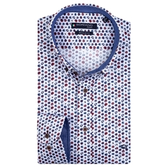New 2020 Giordano Regular Fit Cotton Shirt - Multicoloured Pebbles Red