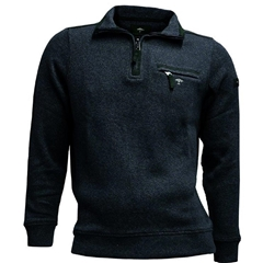 Fynch Hatton Half Zip Cotton Sweater - Midnight