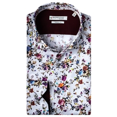 New 2020 Giordano Modern Fit Cotton Shirt - Multi Flower Print on Grey